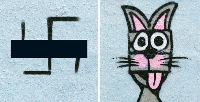 Grafiteros de Berlín tapan esvásticas con dibujos