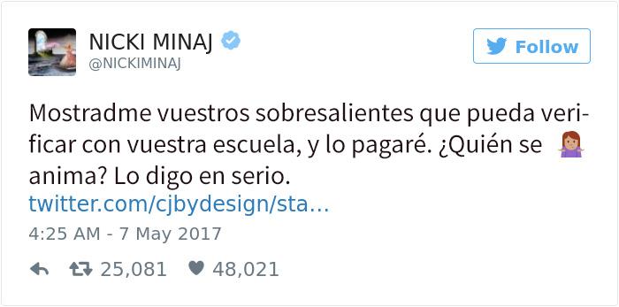 Nicki Minaj paga la universidad de sus seguidores