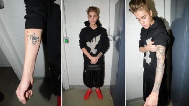 La Policía de Miami difunde fotos de los tatuajes de Justin Bieber