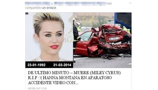 Miley Cyrus muerta en un accidente de coche... en facebook