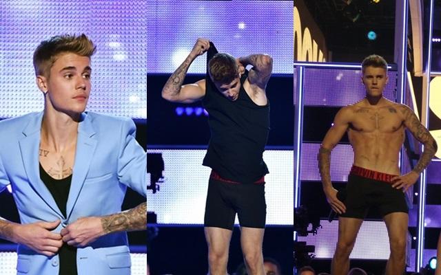Justin Bieber se desnuda en pleno escenario
