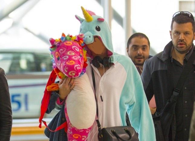 ¿Quién viajó en un avión disfrazada de unicornio?