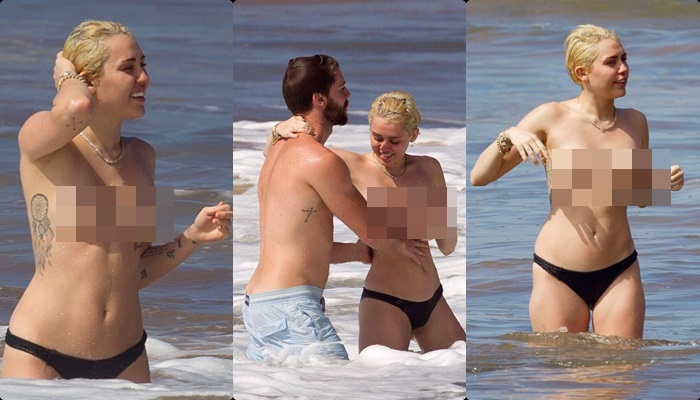 Miley Cyrus, en topless en la playa