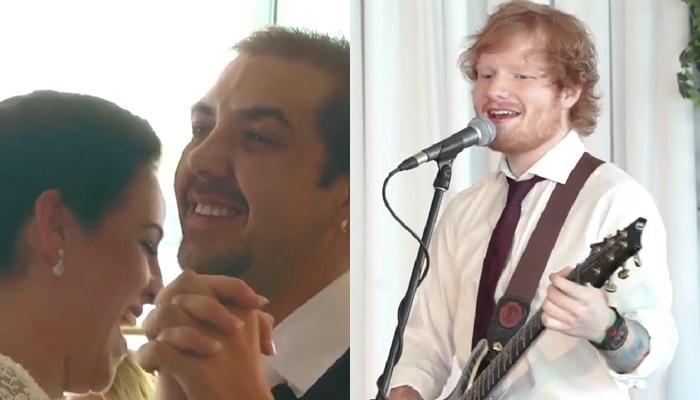 Ed Sheeran sorprende a una pareja cantando el día de su boda