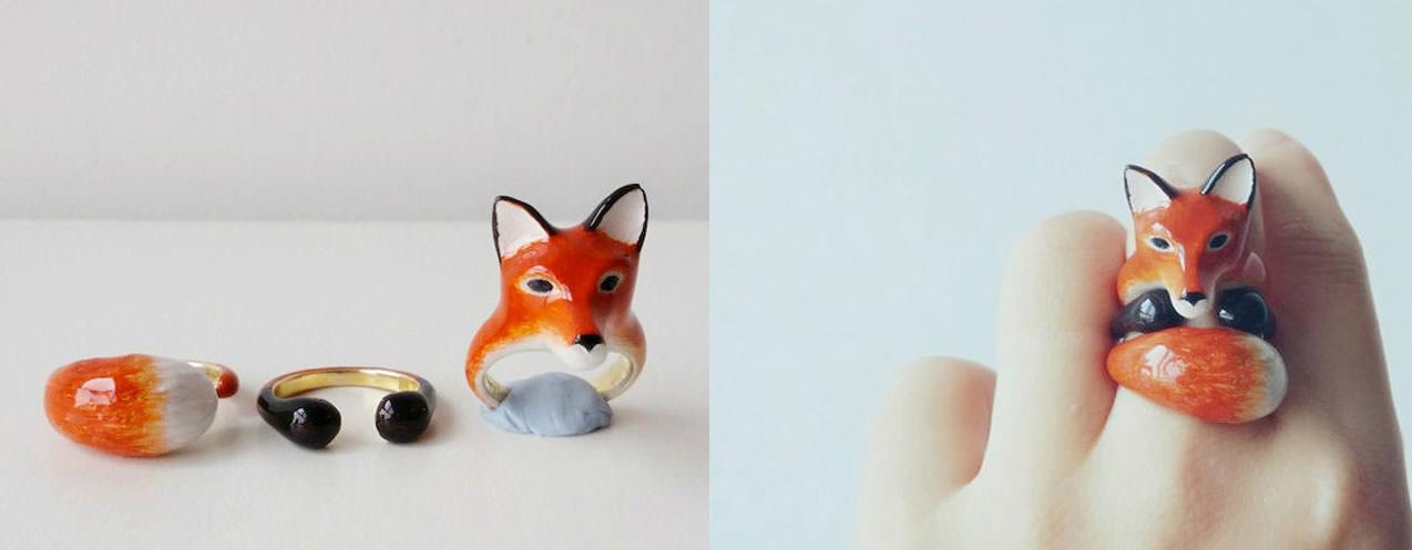 Combinando estos anillos, podrás llevar adorables animales en tus dedos