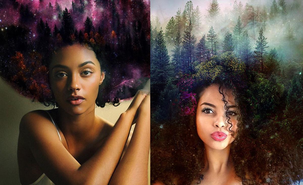 Esta artista crea preciosas imágenes convirtiendo peinados afro en paisajes