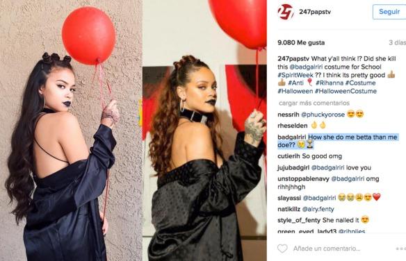 Una adolescente se disfraza de Rihanna y ella le contesta de forma épica