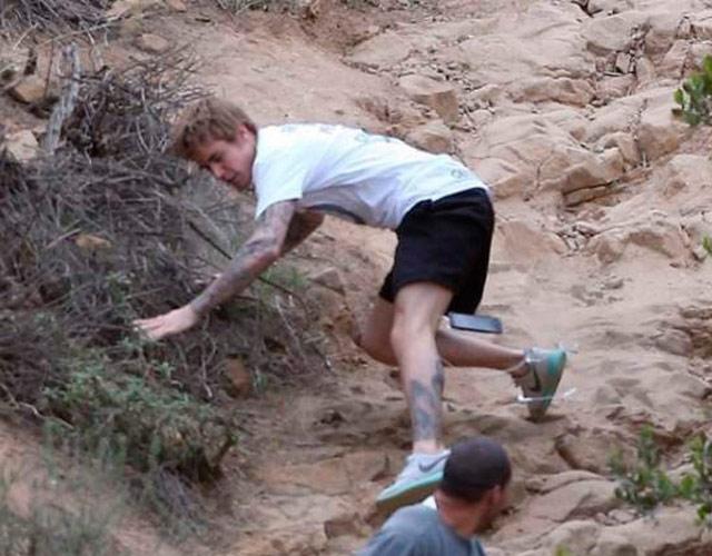La caída de Justin Bieber haciendo ejercicio en Los Ángeles