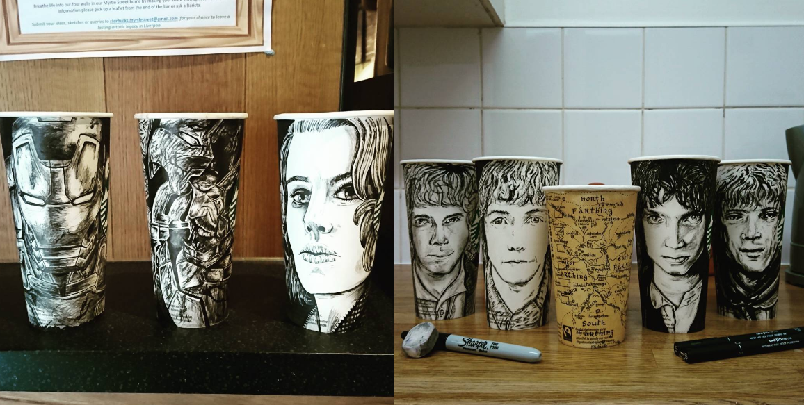 Este chico crea obras de arte en vasos de Starbucks