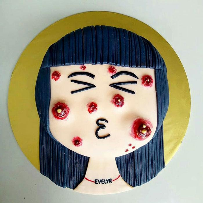 ¡Esta tarta con espinillas que se pueden explotar está siendo un éxito!