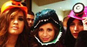 Demi Lovato en una fiesta de Halloween con su ex novio