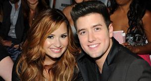 Demi Lovato con Logan Henderson en el estreno de la película de Big Time Rush